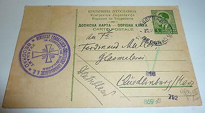 Deutsche Kirche Beograd Belgrad K�nigreich Jugoslawien ZENSUR 1941 Quedlinburg