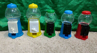 Lot (5) Small Toy Gum Ball/Candy/Vending - Small Plastic Gumball Machine