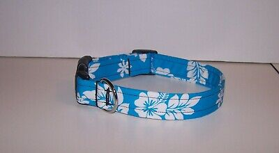 Wet Nose Designs Tropical Hibiscus Dog Collar On Teal Blue Hawaii Hawaiian Beach Designer Hawaiian Dog Collar