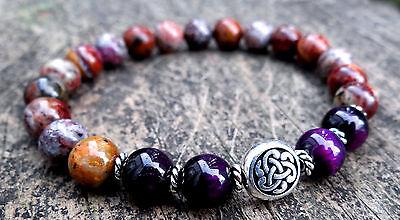 Colored Opal Tiger Eye Bracelet (Natural multi-colored opal and purple tiger eye bracelet w/ silver Celtic knot )