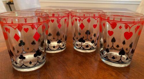 Card Suits Schwartz Mustard Glasses Jars Set of 4 (Lot 1)