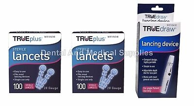 200 True Plus 28G Sterile Lancets + FREE True Draw Lancing Device FREE SHIPPING
