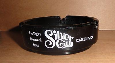 Vintage glass ashtray SILVER CITY CASINO Silver Nugget Silverbird Las Vegas nrmt
