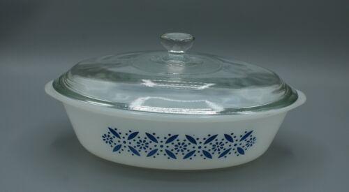 Vintage Glasbake J-235 Blue Snowflake/Flower 1 Qt Oval Casserole Dish with Lid