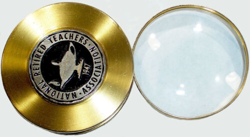 1960's BRASS MAGNIFYING GLASS, National Retired Teachers Association with Logo