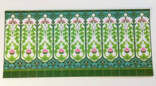 Dollhouse Miniature Wall Tiles Embossed Green Thistle Art Nouveau 1:12 Scale