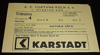 Fortuna Köln - SC Viktoria Köln 04 Eintrittskarte Südstadion 9.9.1978