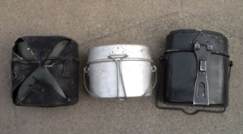 3 Old Relic European Military Mess Kits (German / Dutch / Italian / Swiss) USED