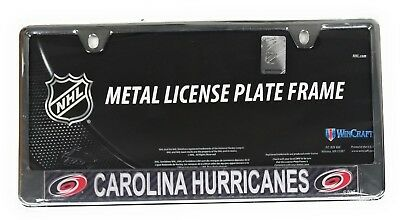 Carolina Hurricanes Carbon Fiber Laser Frame Chrome Metal License Plate Cover