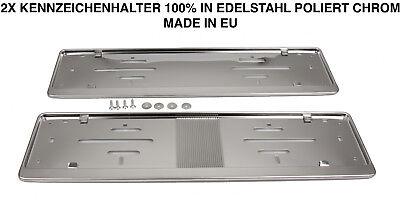 2x Kennzeichenhalter Nummernschildhalter Edelstahl Chrom Rostfrei Made in EU (05