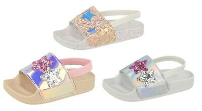 81b211d4e Girls Glitter Summer Sandals Beach Summer Comfort Holographic Shoes Kids  Size