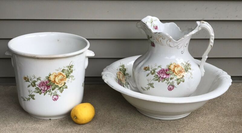 Antique Buffalo Pottery Pitcher Basin Jardiniere Cairo Pink Yellow Roses LARGE