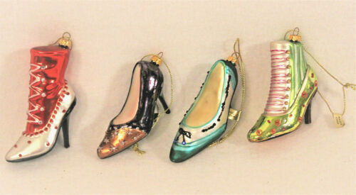 """Set Of 4 Blown Glass Glitter Victorian Shoes Boots Christmas Tree Ornaments 3"""""""