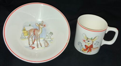 VINTAGE! RUDOLPH RED-NOSED REINDEER - CHILD'S SOUP/CEREAL BOWL & MATCHING CUP