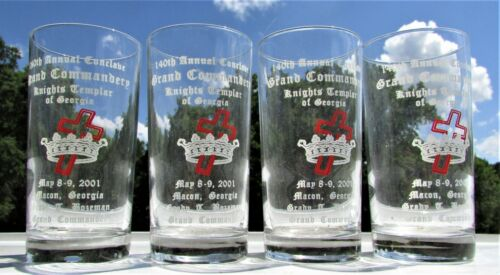 140th Knights Templar of Georgia Annual Conclave Grand Commandery Tall Glass Set