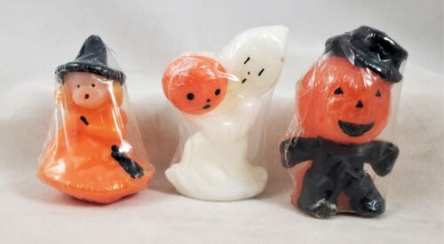 Halloween Candles set of 3 Witch Ghost Pumpkin Man Gurley Reproductions Radko