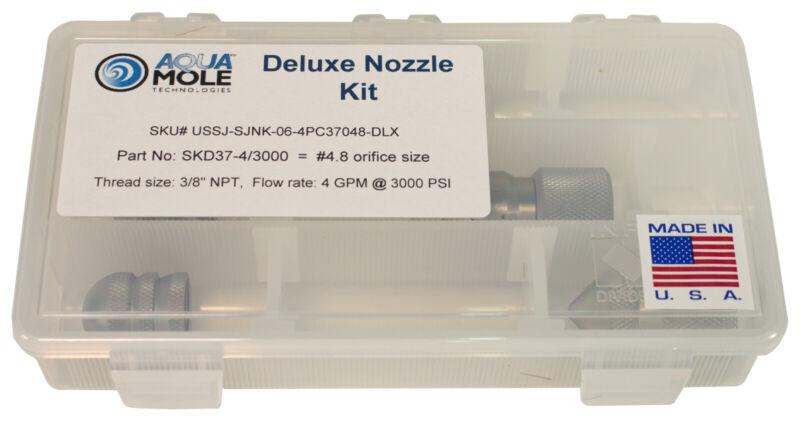 """Aqua Mole 4pc Sewer Squad Deluxe Jetter Nozzle Kit 3/8"""" NPT 3000 PSI 4.8 Orifice"""