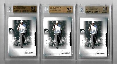THREE 2001 Upper Deck SP Authentic PREVIEW TIGER WOODS ROOKIE card # 21 GEM MINT