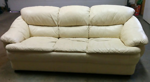 Cream color leather couch
