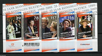 Netherlands**QUEEN BEATRIX 25 Yrs REIGN-Nelson MANDELA-SHEET 5vals-2005-MNH