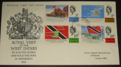 TRINIDAD ROYAL VISIT TO THE WEST INDIES PORT OF SPAIN FEB 1966 FDC