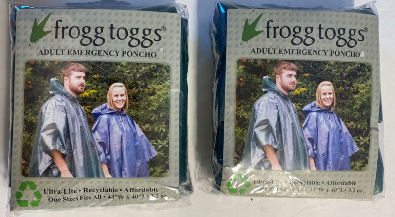 2 Frogg Toggs Green Ultra-Lite Adult Emergency Rain Ponchos One Size New