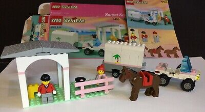 Vintage Lego Sunset Stables6405 Complete box, manual, horse, trailer, figures