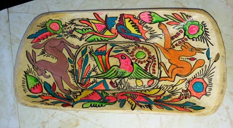 Vintage Mexican Hand Carved Painted Bowl Folk Art Bird Donkey Motif