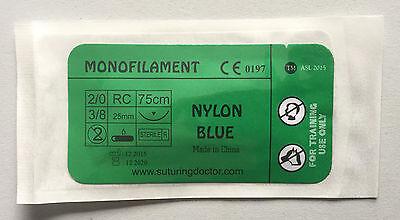 20 Nylon Blue Monofilament Suture 75cm Training Use 25mm Needle Nurse Vet New