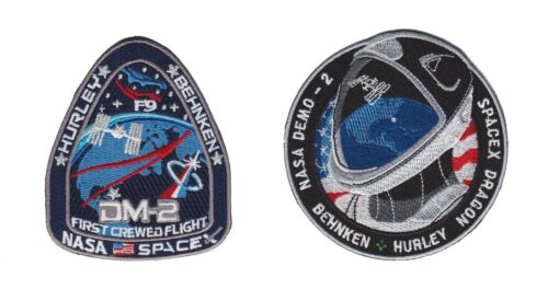 Nasa Falcon 9 Space X SpaceX Crewed Flight DM-2 Mission Astronaut Patch 2 Combo
