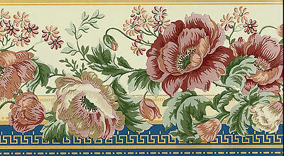 Waverly Victorian Red Floral on Yellow and Blue WALLPAPER BORDER