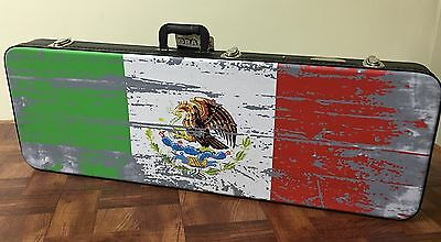 Estuche Para Guitarra Eléctrica. Electric Guitar Case Con Bandera De Mexico