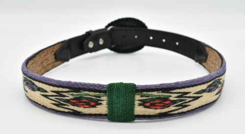 """Handmade Horse Hair Hitched Belt 32"""" Length, 1.25"""" Wide w/Rose Buckle"""