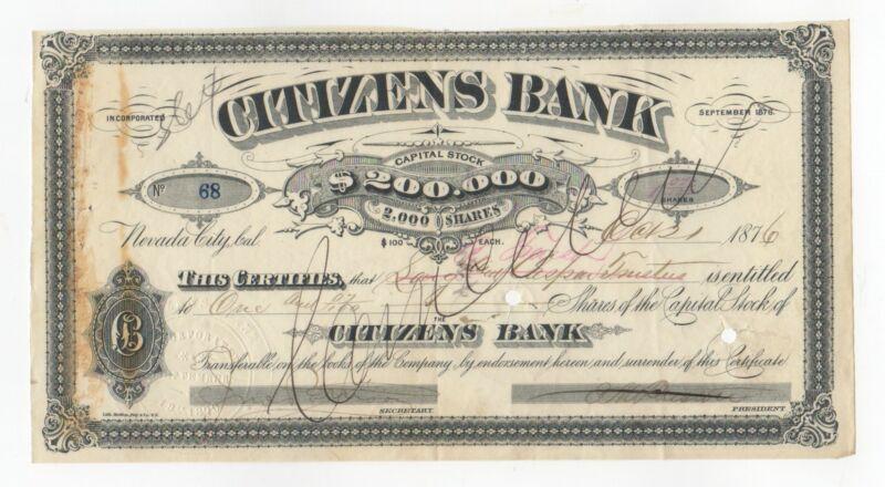 1876 Citizens Bank Stock Certificate
