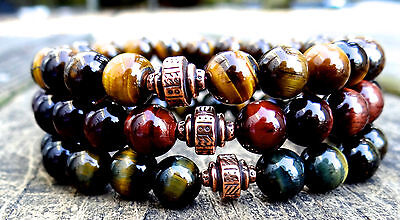 Tiger eye bracelet of blue, red & gold w/ copper artisan barrel charm -