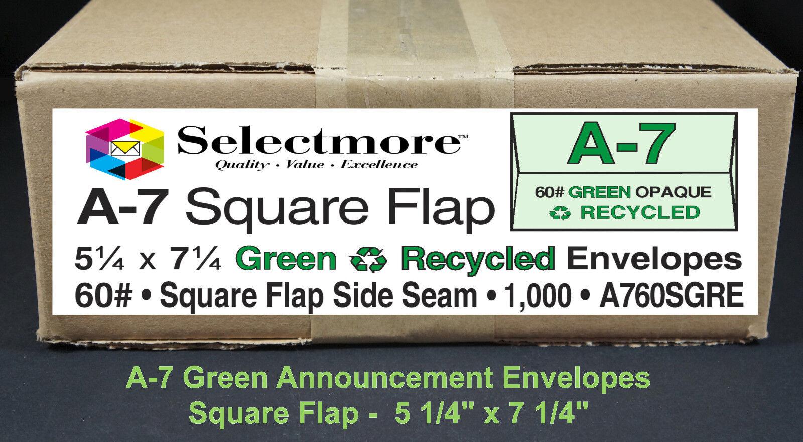 1000 Envelopes A-7 60# Green Premium Announcement Square Flap Color Envelopes