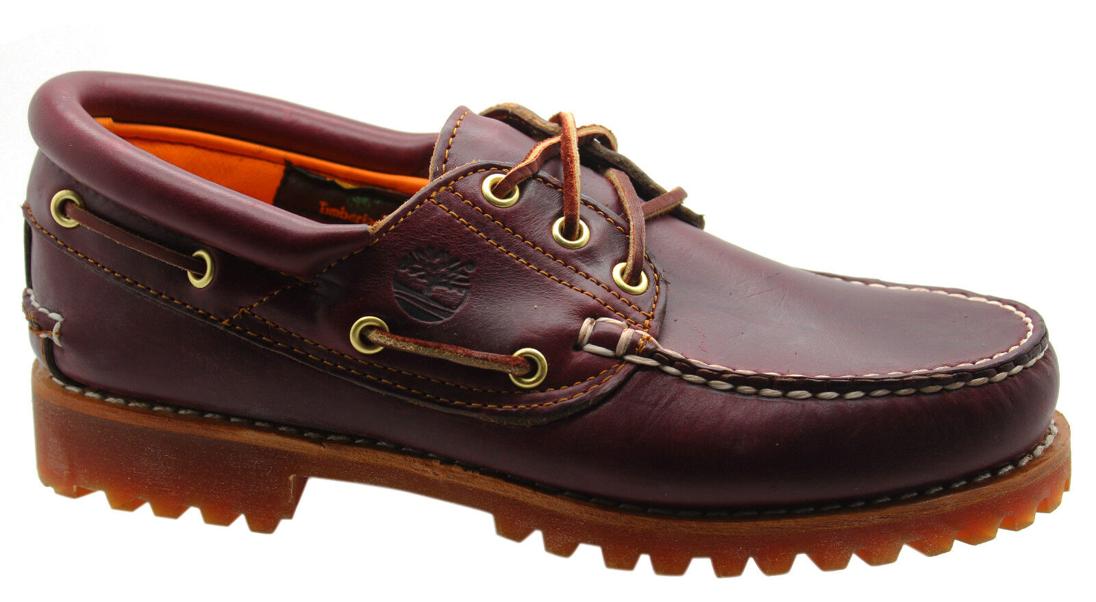 a7390552 Timberland 3 Eye Classic Lug Mens Boat Shoes Deck Red Brown Leather ...