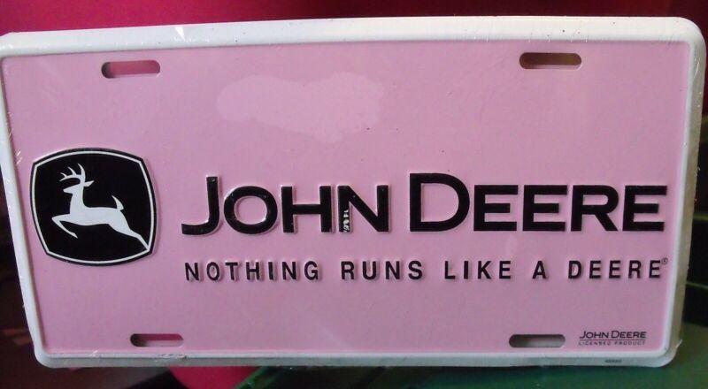 JOHN DEERE   PINK     LICENSE PLATE, NEW