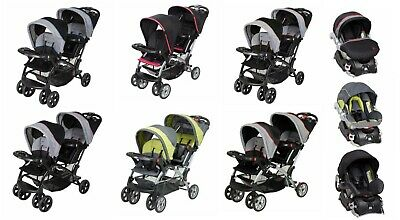 Baby Trend Double Stroller Sit N Stand with Baby Car Seat Travel System Set New