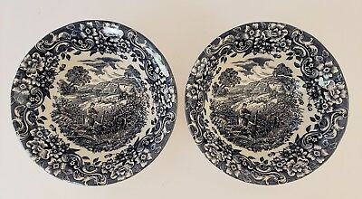 Red River 17th Century England TWO CEREAL BOWLS - BLUE - peasant scene