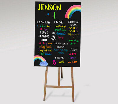 Personalised First Birthday Chalk Board & Milestone Print 1st Rainbow Colourful - 1st Birthday Board