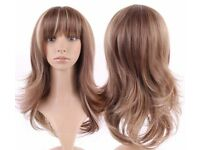 Heat Resistance Fibre Natural Looking Highlighted Long Hair Wig With Fringe.