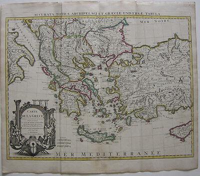 Griechenland Türkei Zypern Kreta kolor Orig Kupferstichkarte de l'Isle 1730