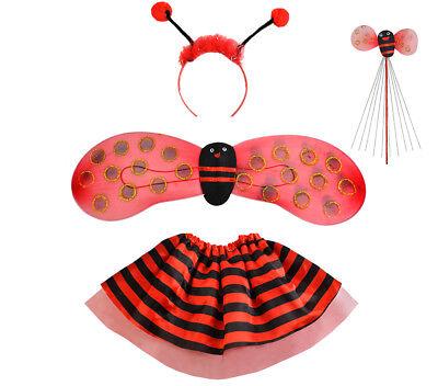 Kostüm Marienkäfer Biene Set Verkleidung Kinder 4 Elemente Komplett Outfit #6613