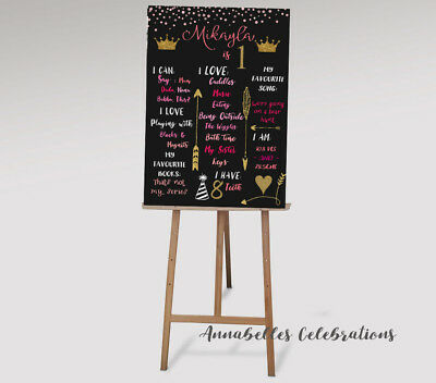 Personalised First Birthday Chalk Board & Milestones Print 1st / Princess Pink  - 1st Birthday Board