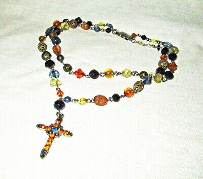 Vintage Double Strand Rosary Choker Plastic Bead Choker Necklace 14