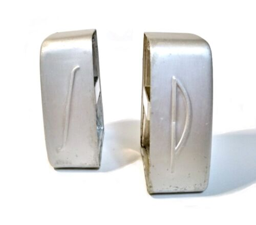Vintage Salt and Pepper Shakers Brushed Aluminum Deco Style