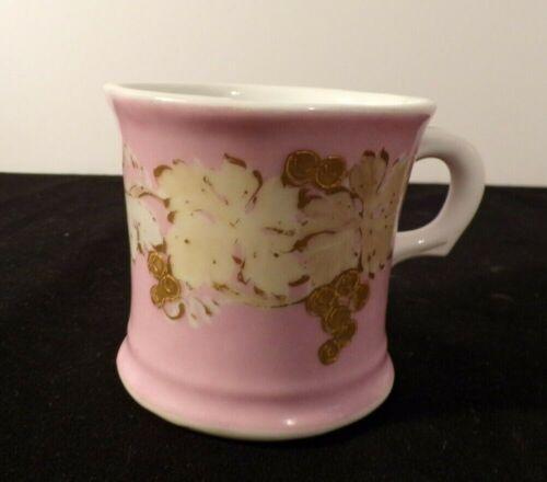 Antique Limoges Depose Shaving Mug Pink/White/Gold Hand Painted Floral Lot 2