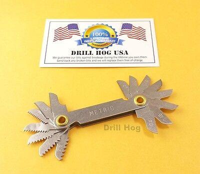 Metric Thread Pitch Gauge (Drill Hog Screw Pitch Gauge Tool Gauge Screw Thread Checker MM Metric)