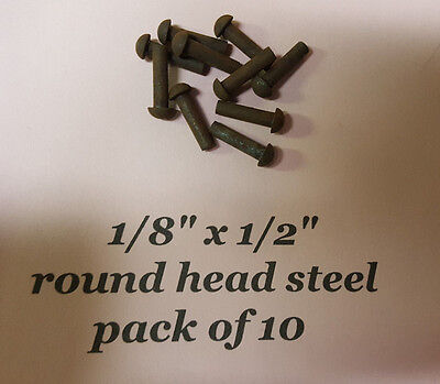 "10 pack of ROUND HEAD STEEL RIVETS  1/8"" x 1/2"" antique slot machine  ""C"""